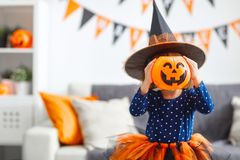Happy   child girl in witch costume to halloween Stock Images