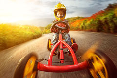Happy Child with Go-Kart Royalty Free Stock Image