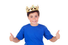 Happy child with golden crown on the head Royalty Free Stock Photos