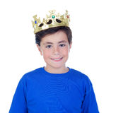 Happy child with golden crown on the head Stock Photo