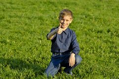The happy child on a green grass Stock Photos