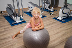 Happy child in the gym Royalty Free Stock Photo