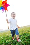 Happy child have fun outdoor stock image