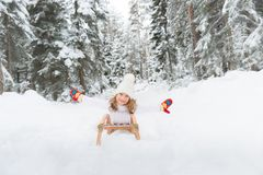 Happy child outdoor in winter Royalty Free Stock Images