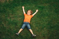 Happy child having fun outdoors stock images