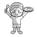 happy child with healthy eating related icons image Stock Photo