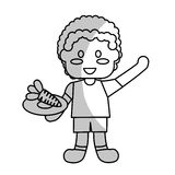 happy child with healthy eating related icons image Royalty Free Stock Photography