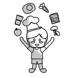 happy child with healthy eating related icons image Stock Images