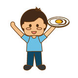 happy child with healthy eating related icons image Royalty Free Stock Image