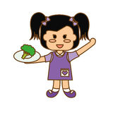 happy child with healthy eating related icons image Royalty Free Stock Photo