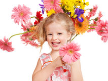 Happy child holding flowers. Stock Photography