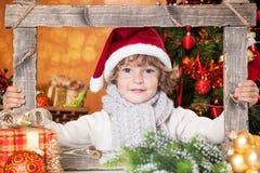 Happy Child Holding Frame Royalty Free Stock Image