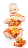 Happy child holding a gift Stock Photo