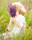 Happy child holding lavender Stock Images