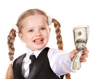 Happy child holding money dollar. Royalty Free Stock Photography