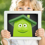 Child holding tablet PC Royalty Free Stock Photo