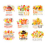 Happy Child Holiday Colorful Graphic Design Template Logo Series,Hand Drawn Vector Stencils Royalty Free Stock Images