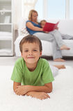 Happy child at home Stock Images