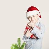 Happy Child Hug Christmas Gift Box Royalty Free Stock Photo