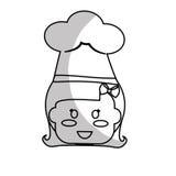 Happy child icon image. Girl happy child with chef hat icon image  illustration design Stock Photos