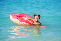 Cute little girl on summer vacation stock photo