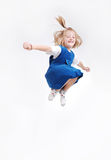 Happy child is jumping high isolated Stock Photos