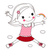 Happy child jumping Royalty Free Stock Images