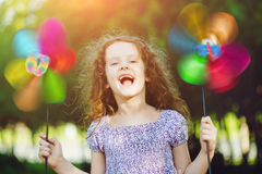 Happy child leisure in summer outdoor. Royalty Free Stock Photography