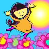 Happy child: like a flowers Royalty Free Stock Photos