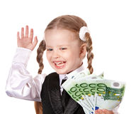 Happy child with money and credit card. Royalty Free Stock Photo