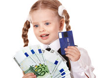 Happy child with money and credut card. Royalty Free Stock Photos