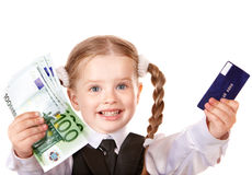 Happy child with money and credut card. Royalty Free Stock Photography