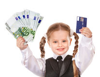 Happy child with money and credut card. Royalty Free Stock Photo