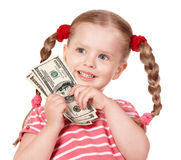 Happy child with money dollar. Royalty Free Stock Photos