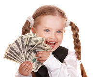 Happy child with money dollar. Stock Image