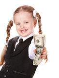 Happy child with money dollar. Royalty Free Stock Photography