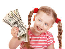 Happy child with money dollar. Royalty Free Stock Photo