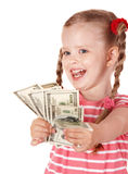 Happy child with money dollar. Stock Photography
