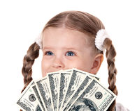 Happy child with money dollar. Stock Photos