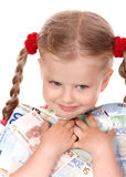 Happy child with money euro. Royalty Free Stock Photo