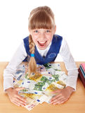 Happy child with money euro. Royalty Free Stock Images