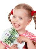 Happy child with money euro. Stock Photos