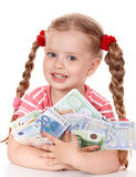 Happy child with money euro. Royalty Free Stock Photos