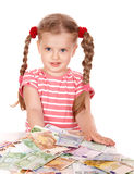 Happy child with money euro. Stock Photography