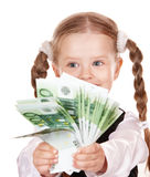 Happy child with money euro. Royalty Free Stock Photography