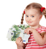 Happy child with money euro. Stock Image