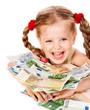 Happy child with money euro. Royalty Free Stock Image