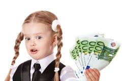 Happy child with money euro. Royalty Free Stock Photo