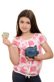 Happy child with money and piggy bank Royalty Free Stock Images
