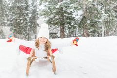 Happy child outdoor in winter Royalty Free Stock Image